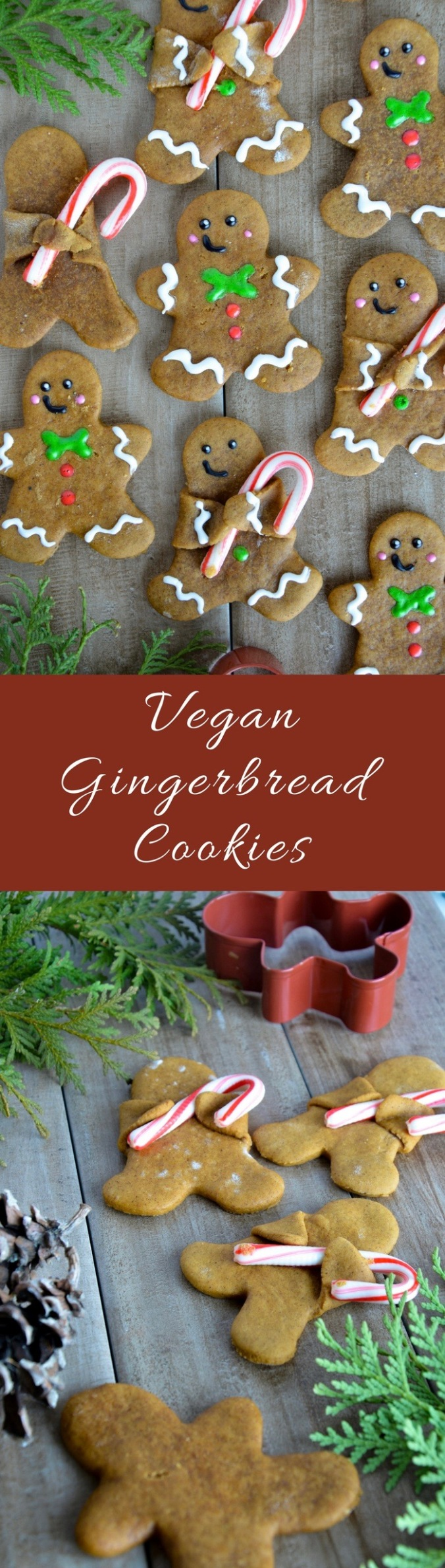 Vegan gingerbread cookie holding candy cane